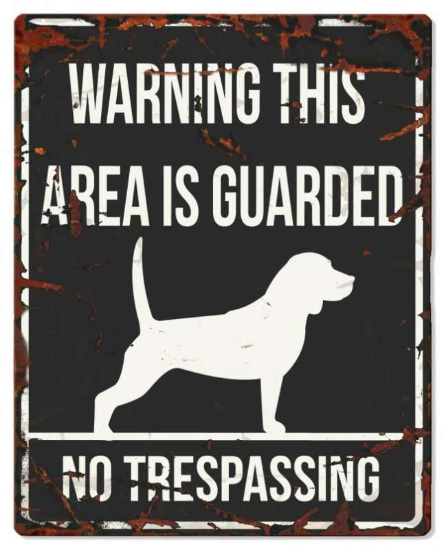 Europet-Bernina D&D Homecollection Warning Sign - Square Beagle Black - English Version  Sort Beagle, square