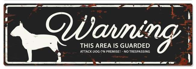 Europet-Bernina D&D Homecollection Warning Sign - Bull Terrier Black - English Version Mini Chihuahua
