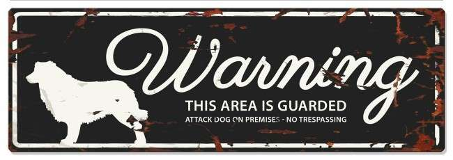 Europet-Bernina D&D Homecollection Warning Sign -Collie Black - English Version  Sort Collie