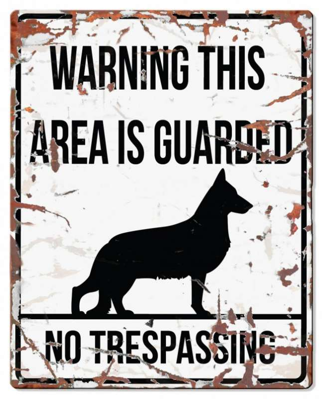 Europet-Bernina D&D Homecollection Warning Sign - Square German Shepherd White - English Version  Hvid German Shepherd, square