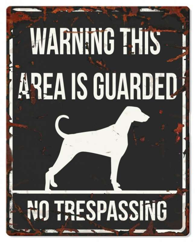 Europet-Bernina D&D Homecollection Warning Sign - Square Dalmatian Black - English Version  Sort Dalmatian, square