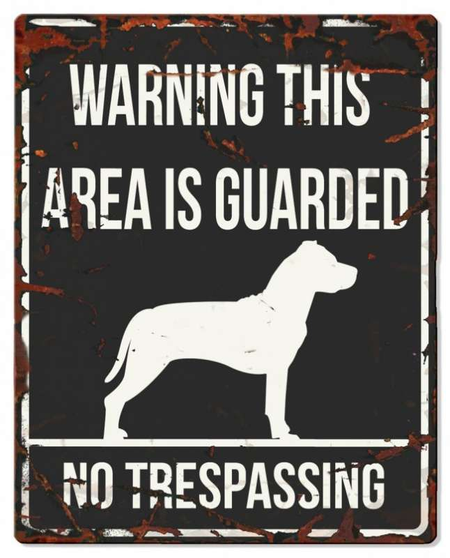 Europet-Bernina D&D Homecollection Warning Sign - Square Stafford Black - English Version  Sort Stafford, square