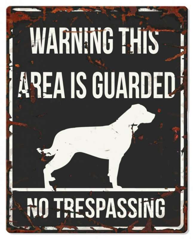 Europet-Bernina D&D Homecollection Warning Sign - Square Rottweiler Black - English Version  Sort Rottweiler, square