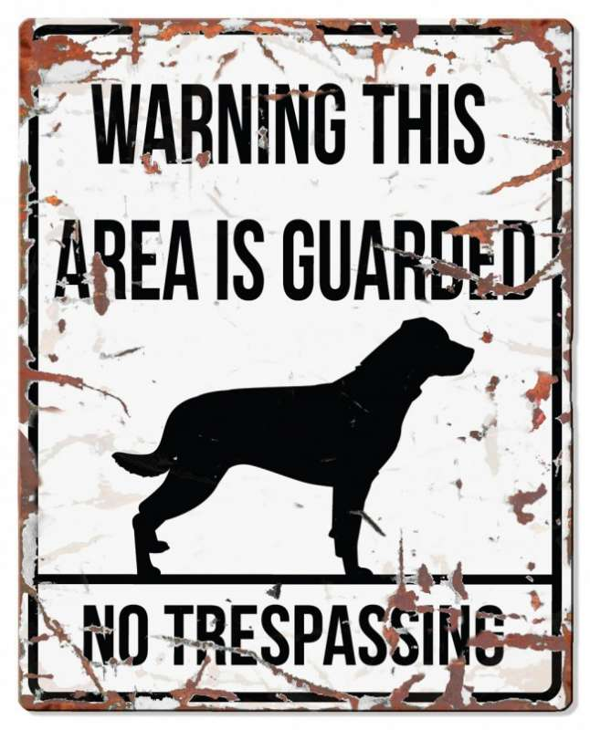 Europet-Bernina D&D Homecollection Warning Sign - Square Rottweiler White - English Version  Hvid Rottweiler, square