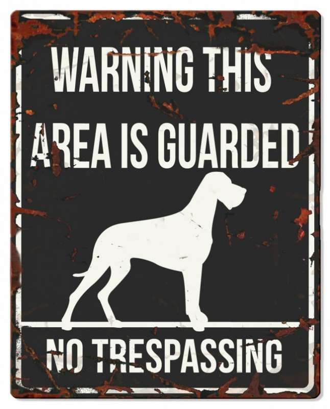 Europet-Bernina D&D Homecollection Warning Sign - Square Danish Dog Black - English Version  Sort Danish Dog, square