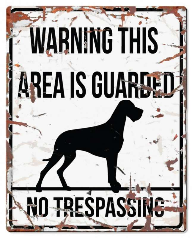Europet-Bernina D&D Homecollection Warning Sign - Square Danish Dog White - English Version Mini Chihuahua