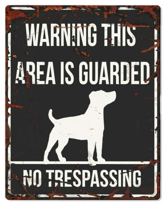Europet-Bernina D&D Homecollection Warning Sign - Jack Russel Black - English Version  Sort Jack Russel, square