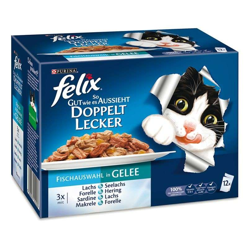 Felix Multipack Felix As Good As It Looks - Doubly Delicious with Fish in Jelly 12x100 g
