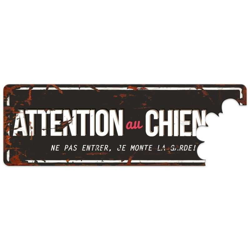 Europet-Bernina D&D Homecollection Plaque Attention au Chien, Noir Rouge  Noir  Attention au Chien, rouge