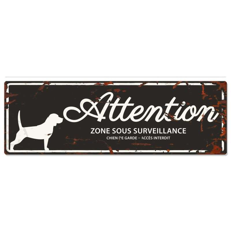 Europet-Bernina D&D Homecollection Plaque Attention Beagle, Noir  Noir Beagle, rectangulaire