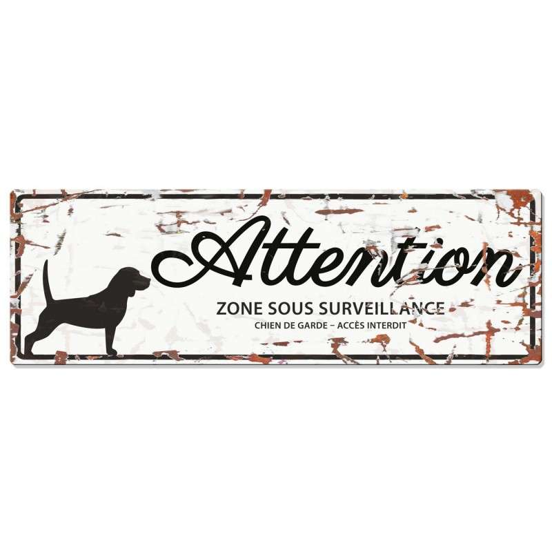 Europet-Bernina D&D Homecollection Plaque Attention Beagle, Blanc  Blanc Beagle, rectangulaire