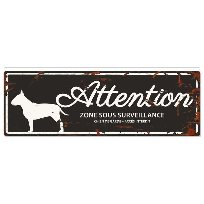 Europet-Bernina D&D Homecollection Plaque Attention Bull Terrier, Noir  Noir Bull Terrier, rectangulaire