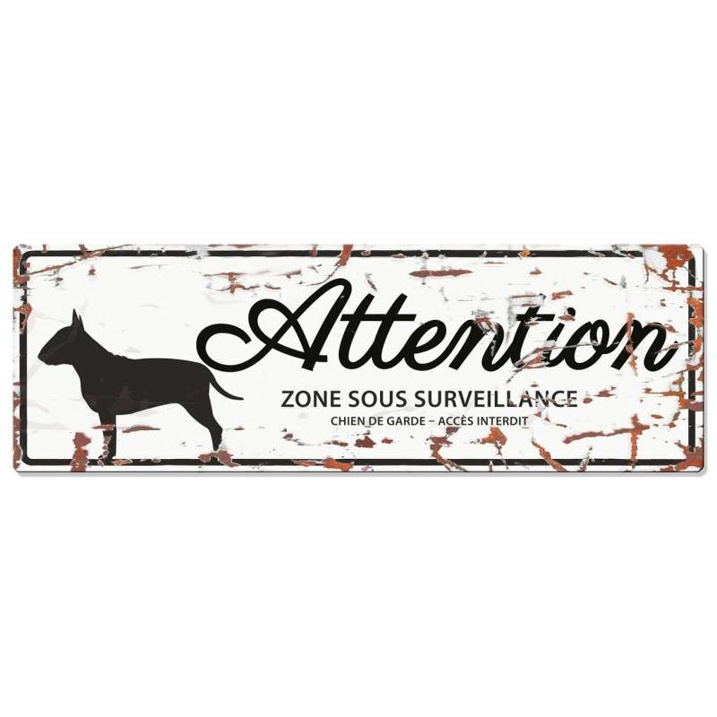 Europet-Bernina D&D Homecollection Plaque Attention Bull Terrier, Blanc  Blanc Bull Terrier, rectangulaire