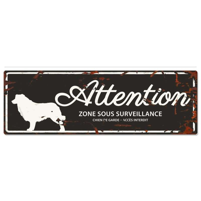 Europet-Bernina D&D Homecollection Plaque Attention Collie, Noir  Attention au Chien, gris