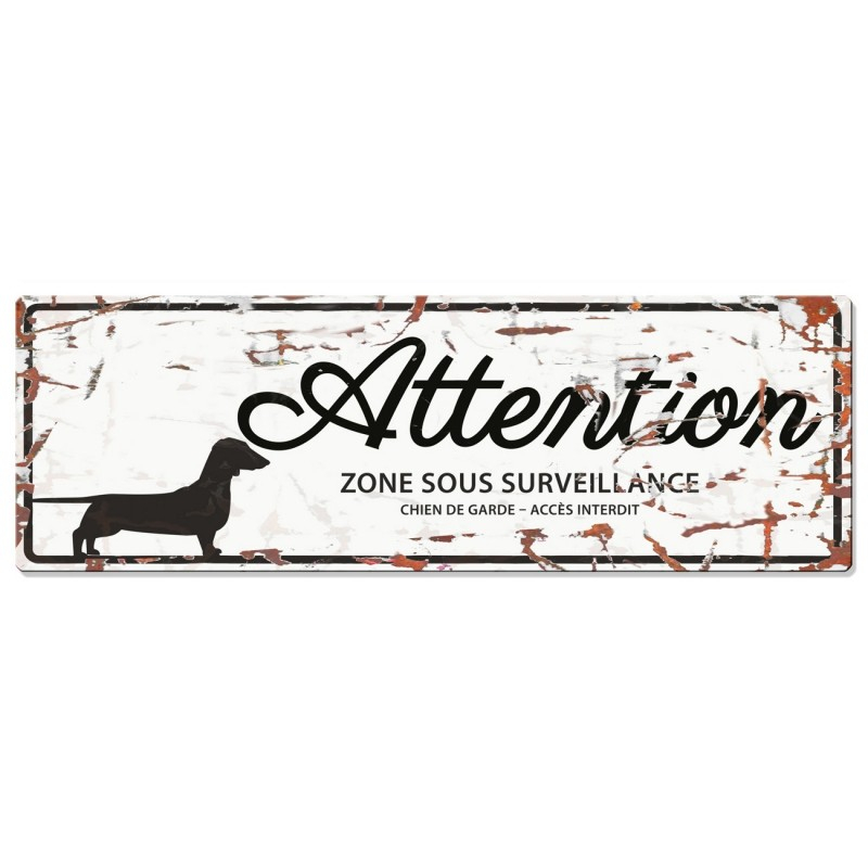 Europet-Bernina D&D Homecollection Plaque Attention Teckel, Blanc  Noir Teckel, rectangulaire