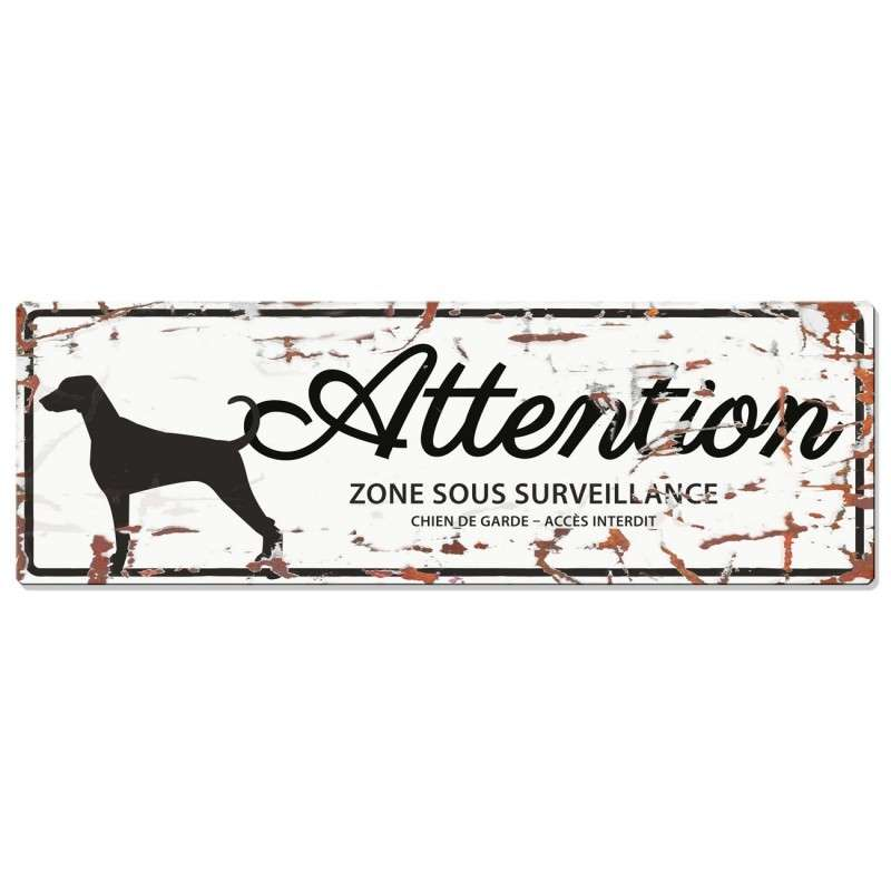 Europet-Bernina D&D Homecollection Plaque Attention Dalmatien, Blanc  Attention au Chien, gris