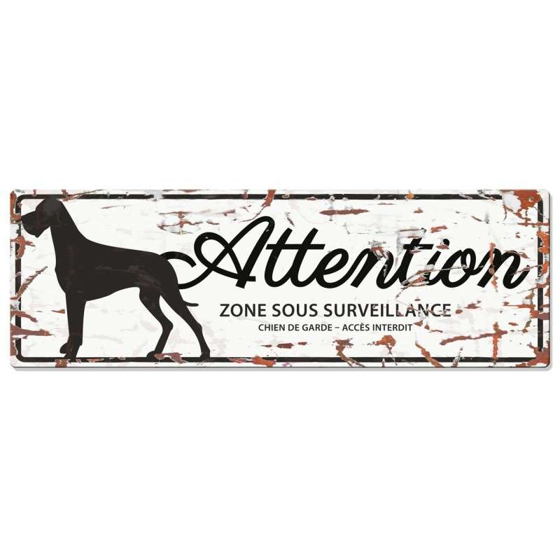 Europet-Bernina D&D Homecollection Plaque Attention Dogue allemand, Blanc  Attention au Chien, gris