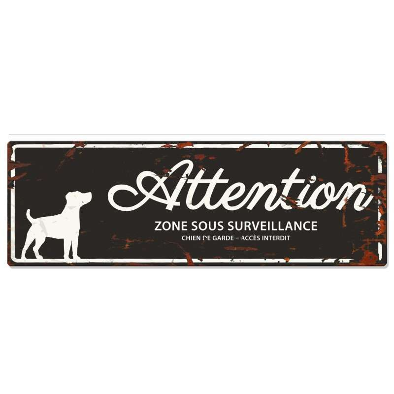 Europet-Bernina D&D Homecollection Plaque Attention Jack Russell, Noir  Noir Jack Russell, rectangulaire