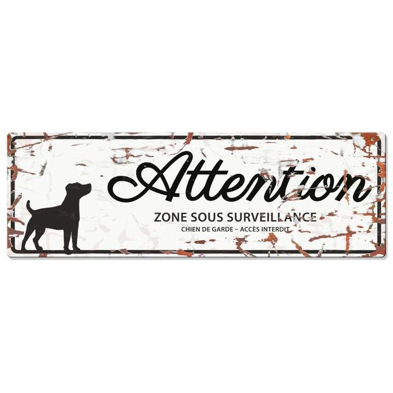 Europet-Bernina D&D Homecollection Plaque Attention Jack Russell, Blanc  Blanc Jack Russell, rectangulaire