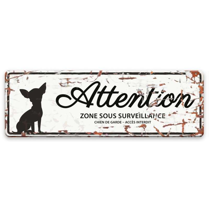 Europet-Bernina D&D Homecollection Plaque Attention Chihuahua, Blanc  Blanc Chihuahua, rectangulaire