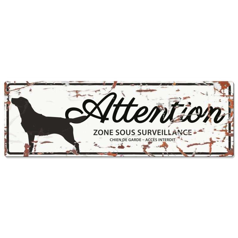 Europet-Bernina D&D Homecollection Plaque Attention Retriever, Blanc  Blanc Retriever, rectangulaire