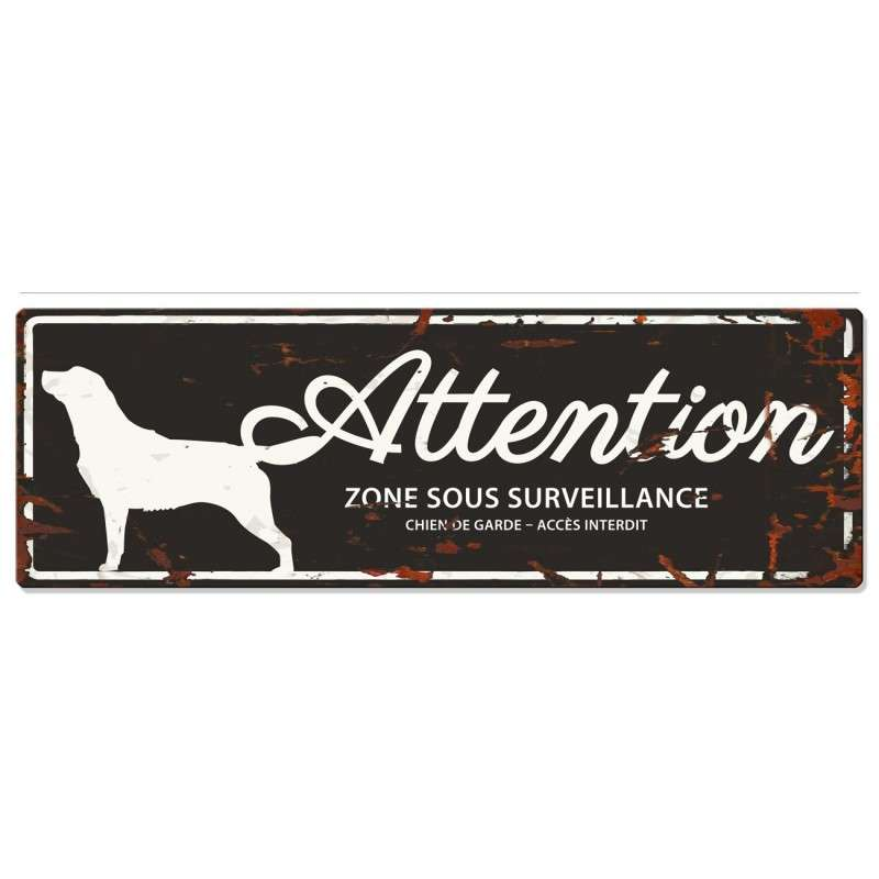 Europet-Bernina D&D Homecollection Plaque Attention Retriever, Noir  Attention au Chien, gris