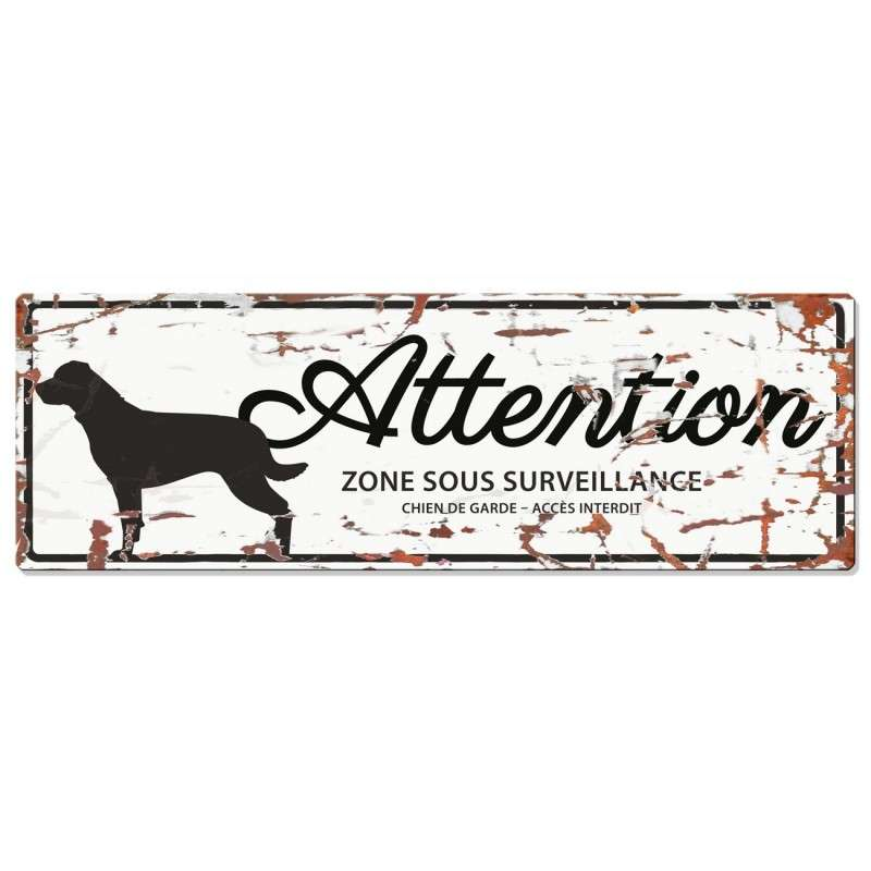 Europet-Bernina D&D Homecollection Plaque Attention Rottweiler, Blanc  Attention au Chien, gris