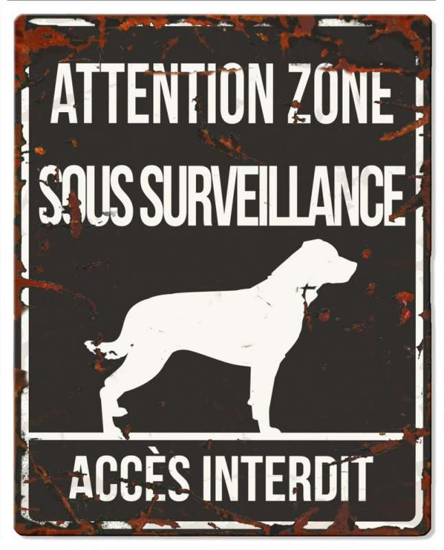 Europet-Bernina D&D Homecollection Plaque Attention Rottweiler, Noir  Attention au Chien, gris