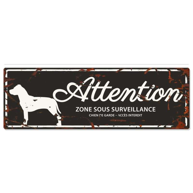 Europet-Bernina D&D Homecollection Plaque Attention Staffordshire Bull Terrier, Noir  Noir Staffordshire Bull Terrier, rectangulaire