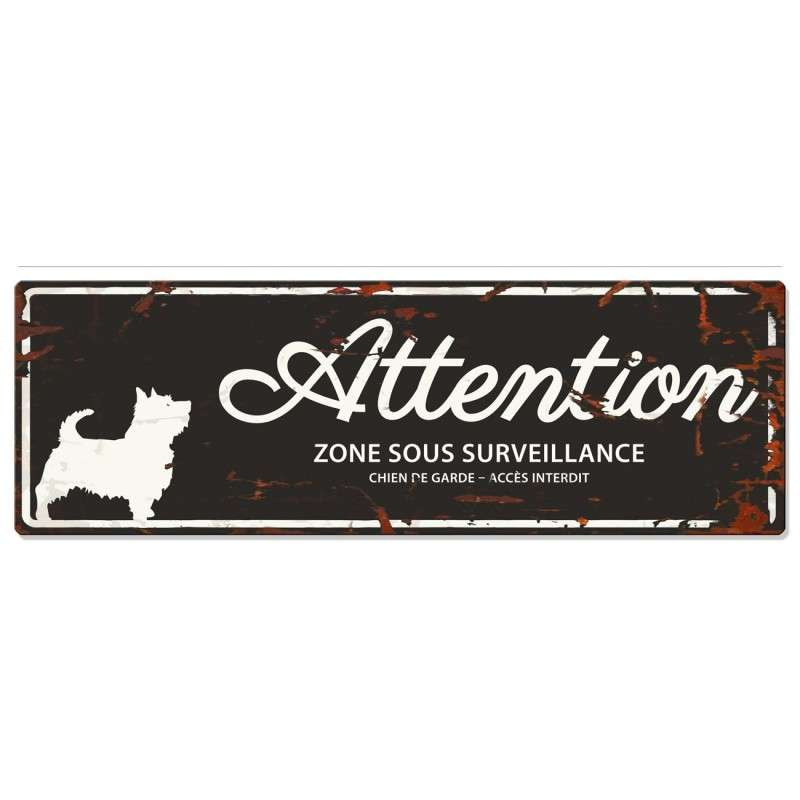 Europet-Bernina D&D Homecollection Plaque Attention Terrier, Noir  Noir Terrier, rectangulaire