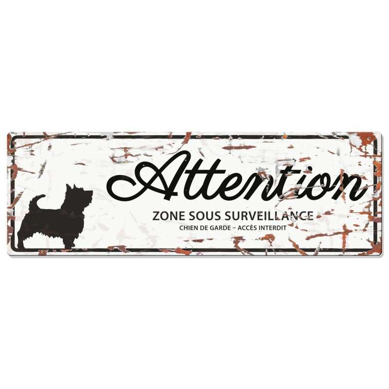 Europet-Bernina D&D Homecollection Plaque Attention Terrier, Blanc  Blanc Terrier, rectangulaire