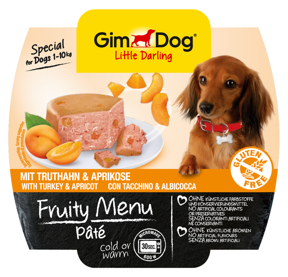 GimDog Fruity Menu Pâté mit Truthahn & Aprikose 100 g bei Zoobio.at