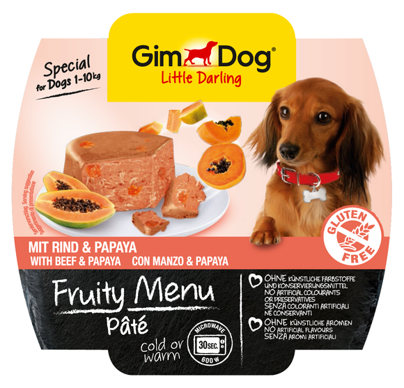 GimDog Fruity Menu Pâté with Beef and Papaya 100 g 4002064512303 anmeldelser