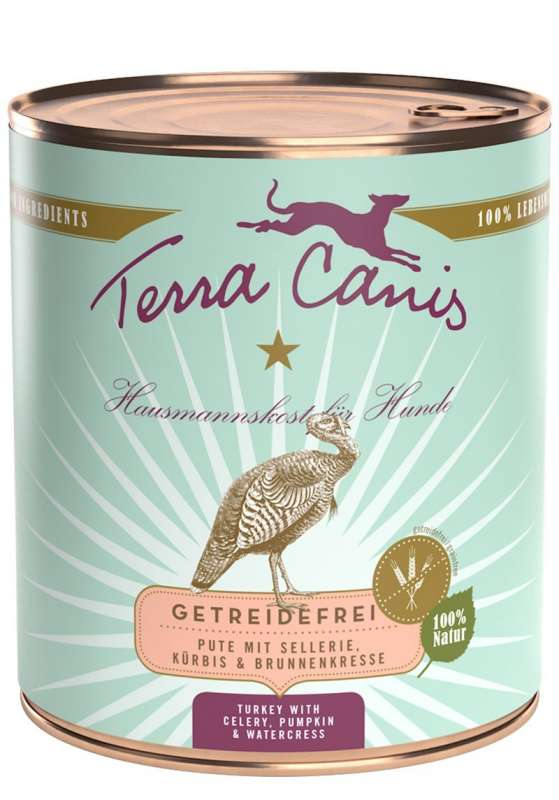 Terra Canis Menu Grain-Free, Turkey with celery, pumpkin and watercress 800 g, 400 g, 200 g