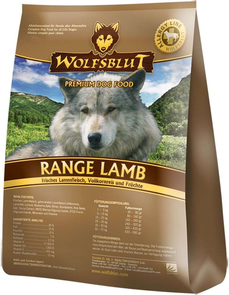 Range Lamb Adult, Fresh Lamb meat, Whole Grain Rice and Fruit from Wolfsblut 15 kg, 2 kg buy online