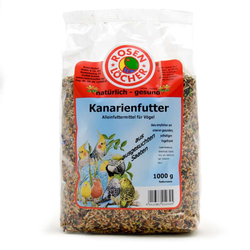 Rosenlöcher Canary Food with Turnip Rape & Biscuit 1 kg 4012387010325 erfaringer