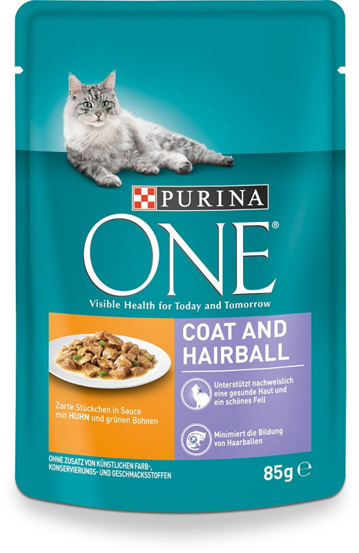 Purina One Coat & Hairball with Chicken and Green Beans 85 g 7613035867673 anmeldelser