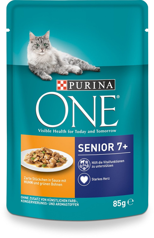 Purina One Senior 7+ with Chicken and green Beans 85 g 7613035926363 anmeldelser