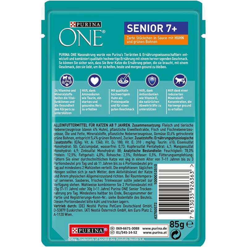 Purina One Senior 7+ with Chicken and green Beans 85 g test