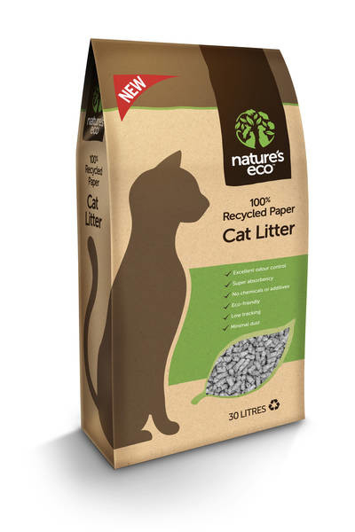 Nature's Eco Recycled Papel Lecho para Gatos 30 l