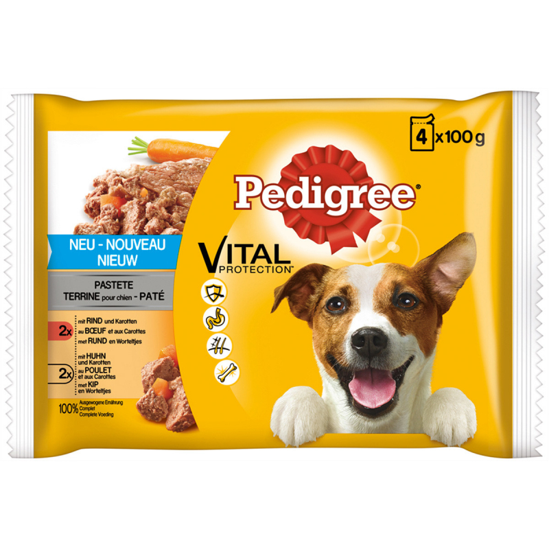 Pedigree Vital Protection Pate with Beef, Chicken & Carrot 4x100 g 4770608256326 anmeldelser
