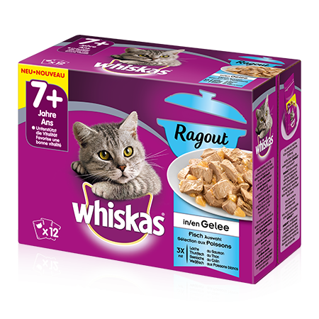Whiskas 7+ Casserole Fish Selection in Jelly 12x85 g, 40x85 g buy online