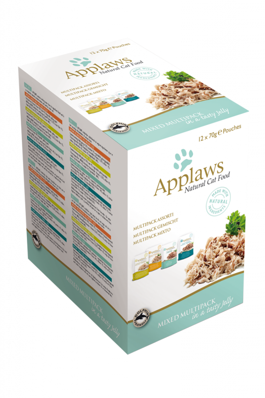 Applaws Natural Cat Food Mixed Variety Jelly Pouch Multipack 12x70 g 5060122496612 anmeldelser
