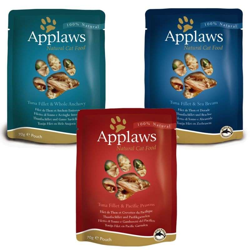 Applaws Frischebeutel Natural Cat Food Fisch Multipack in Brühe 12x70 g