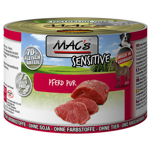 MAC's Dog Mono Sensitive - Pure Horse canned 400 g, 800 g, 200 g