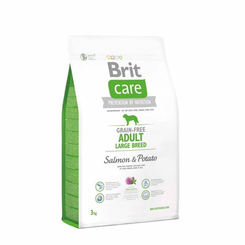 Brit Care Grain-free Adult Large Breed med Laks og Potet 3 kg