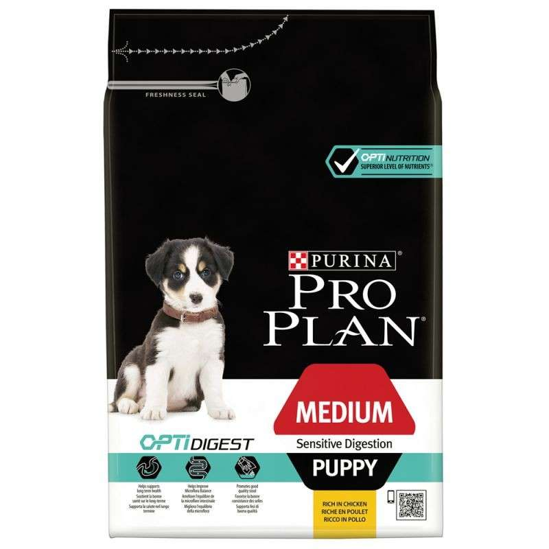 Purina Pro Plan Medium Puppy - Optidigest Rik på Kyckling 3 kg, 12 kg