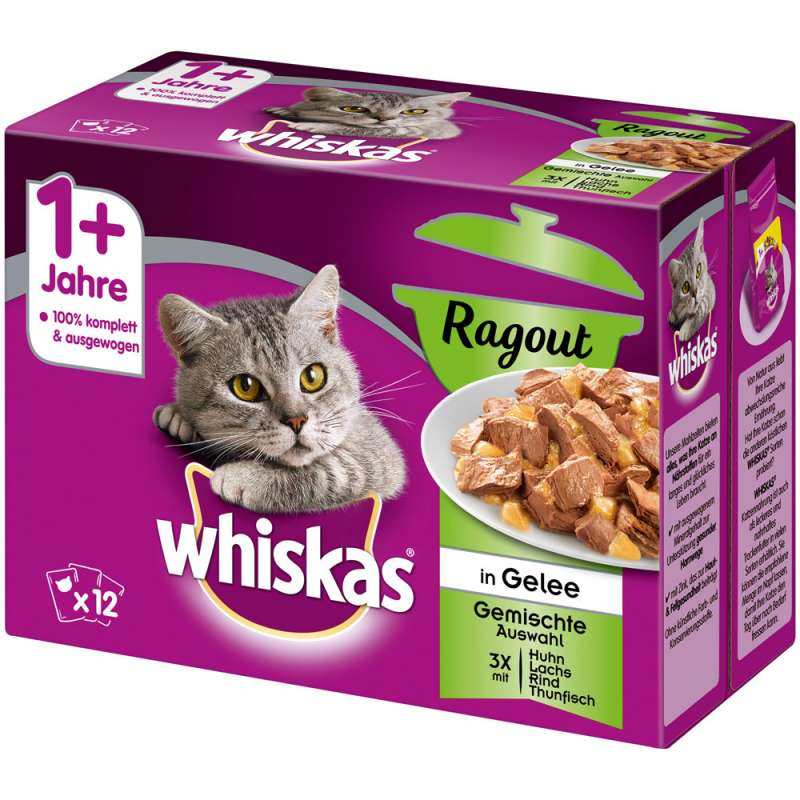 Whiskas 1+ Cat Pouches Ragout Mixed Menu 40x85 g, 12x85 g, 24x85 g kjøp billig med rabatt