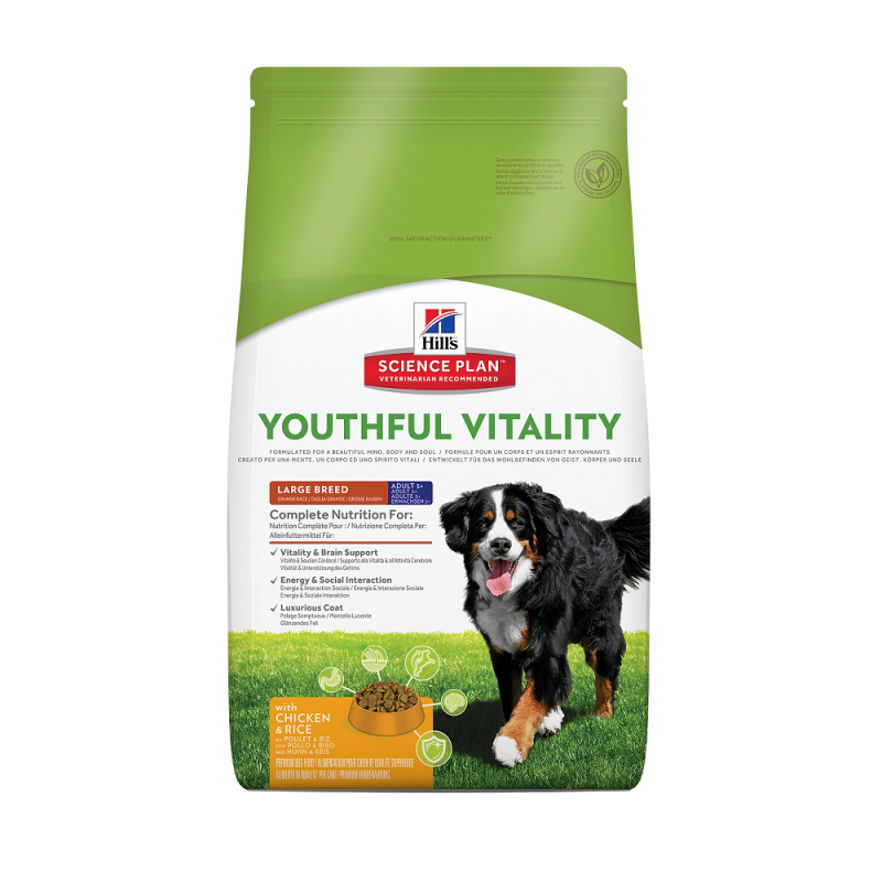 Hill's Science Plan Canine Adult 5+ Youthful Vitality Large Breed med Kyckling och Ris 10 kg, 2.5 kg köp billiga på nätet