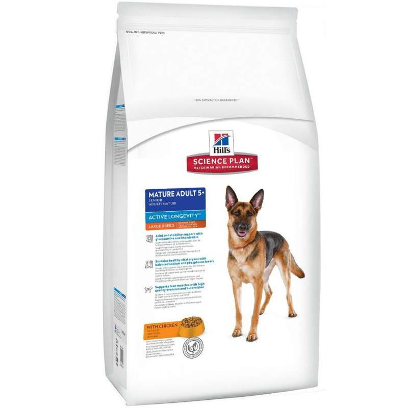 Hill's Science Plan Canine Mature Adult 5+ Active Longevity Large Breed med Kylling 12 kg, 3 kg kjøp billig med rabatt